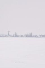Cravant sous la neige dans le Loiret (45)